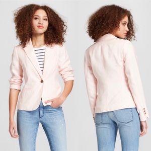 A New Day Pink Linen Blend Single Button Blazer 18